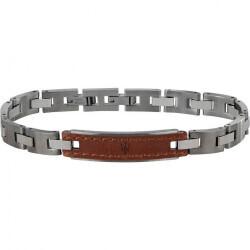 Bracelet homme acier et cuir maserati 200617