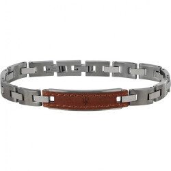 Bracelet homme acier et cuir maserati
