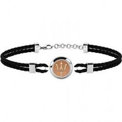 Bracelet acier/cuir homme Maserati