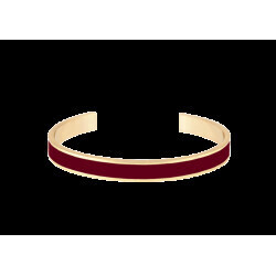 Bracelet Bangle Up Jonc ouvert ajustable en laiton doré émail bordeaux 0,7 cm