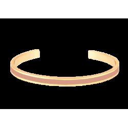 Bracelet Bangle-Up jonc ouvert ajustable en laiton doré émail Rose Poudre 0,44cm