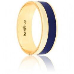 Bracelet Bangle Up Vaporetto Bleu Nuit & Blanc Sable Plaqué Or Jaune