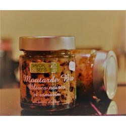 Moutarde Bio saveur olives noires et Romarin