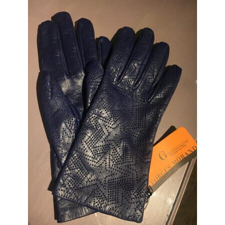Gants bleu à motif Georges Morand