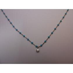 Collier or gris résine turquoise diamant