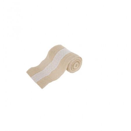 Toile de jute avec dentelle 14.5cm/5m