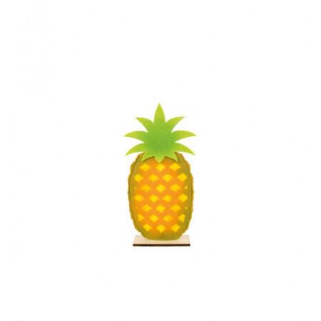 Ananas feutre sur pied bois 17.5/35cm