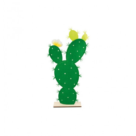 Cactus feutre sur pied bois 27/55.5cm
