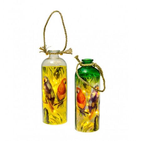 Lanterne verre tropicale anse corde 11x31cm