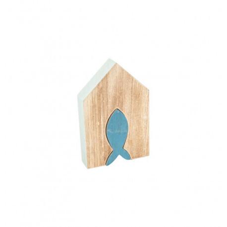 Maison bois poisson bleu 15x9.5x2.5cm