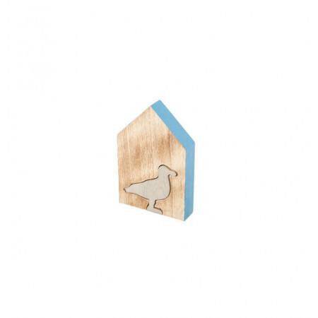 Maison bois mouette grise 8x12x2cm