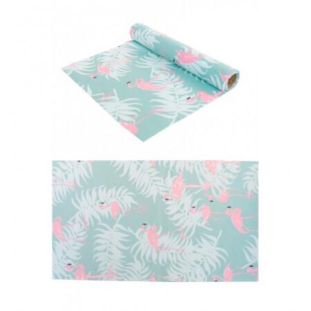 Chemin de table tissu flamant rose 28cmx5m