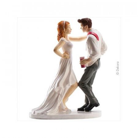 Couple de mariés fête et danse 16cm