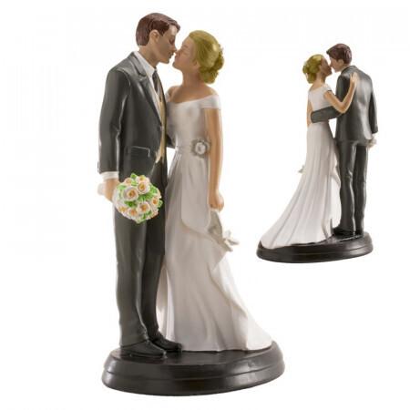 Couple de mariés avec bouquet 18cm