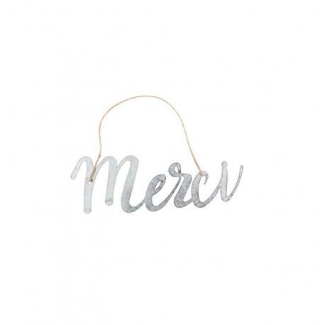 Merci en métal corde jute 30x10cm