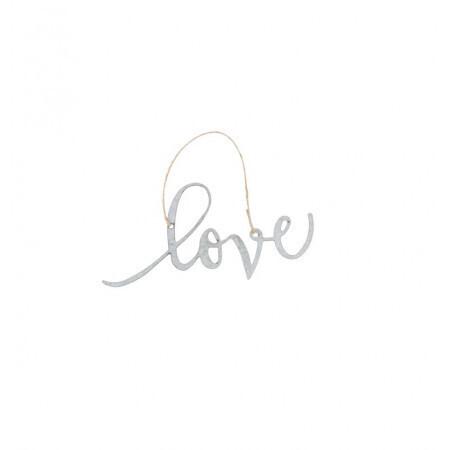 Love en métal corde jute 30x15cm