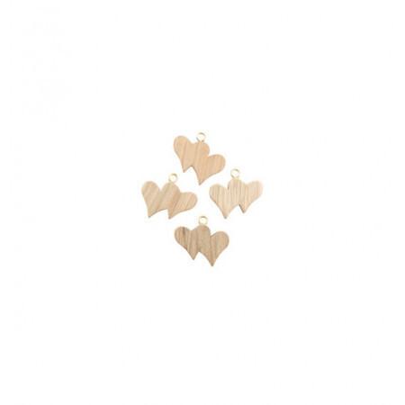 Set 12 double-coeurs bois +boucle 3x2x0.7cm