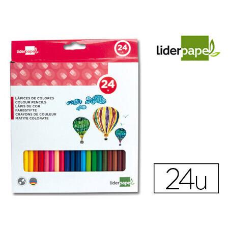 Crayon de couleur LIDERPAPEL x 24