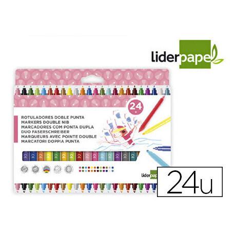 24 Feutres de couleur 2 pointes LIDERPAPEL