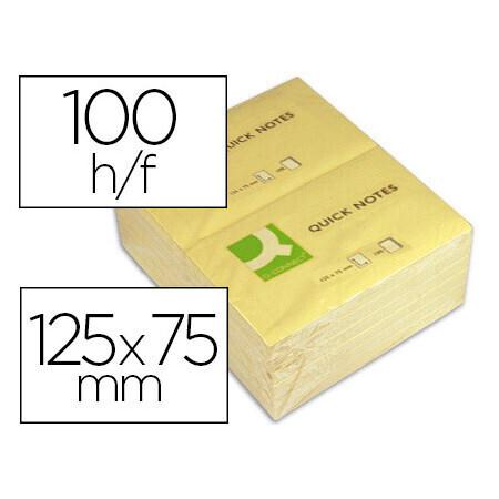 Bloc-notes 7.5cm x12.5cm 100 feuilles Q CONNECT coloris jaune.