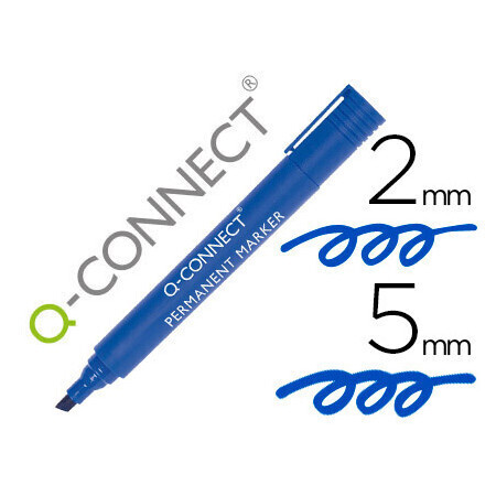 Marqueur bleu permanent Q CONNECT permanent pointe biseautée tracé 5mm