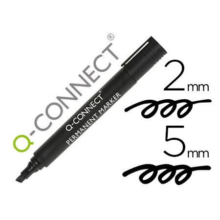 Marqueur noir permanent Q CONNECT permanent pointe biseautée tracé 5mm