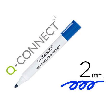 Marqueur bleu pour tableau blanc Q CONNECT blanc pointe ogive tracé 3mm corps plastique encre base alcool bleu.