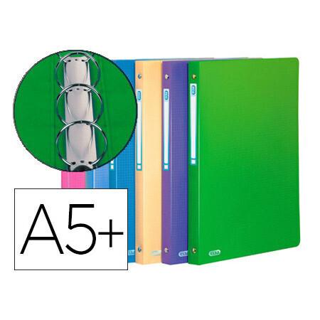 Classeur 4 anneaux ronds ELBA 15mm polypropylène 5/10e toucher satiné dos 20mm étiquette dos assortis style.