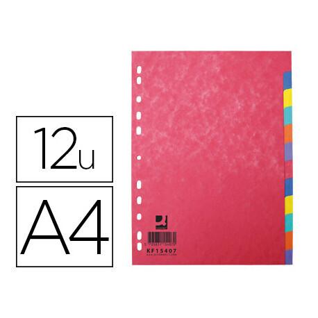 12 Intercalaires A4 Q CONNECT carte lustrée 225g