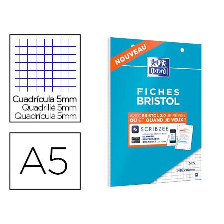 Cahier de 30 fiches bristol A5 OXFORD 14,8 cm x 21cm carreaux 5x5mm .