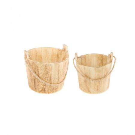 Set 2 seaux bois naturel 16x16 / 12x12