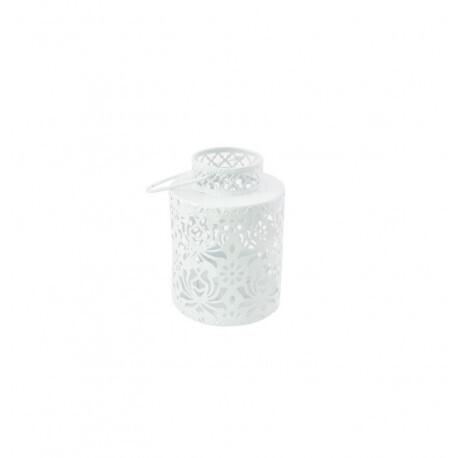 Photophore métal rond blanc 8x10cm