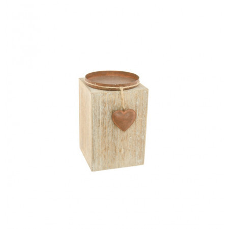 Bougeoir bois métal coeur 10x16cm