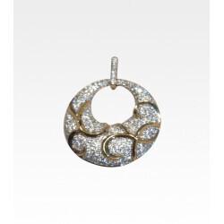 Pendentif bicolore motif cercle pavage de diamants 0,95 carat