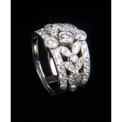bague bandeau diamants - platine