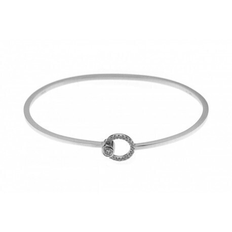 Bracelet rigide or gris et diamants | Bijouterie Argor