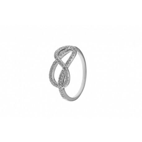 Bague en or gris 750/1000 à motif noeud ,ligne de diamants 0,38 G VS