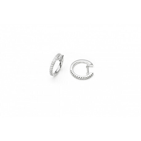 Boucles doreilles modéle crèole or gris 750/1000 diamants 0.20 carats