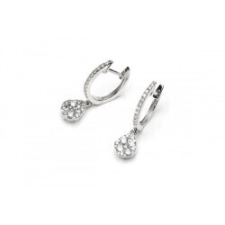 Boucle d'oreilles à motif de poire en or blanc 750/1000 et en diamants