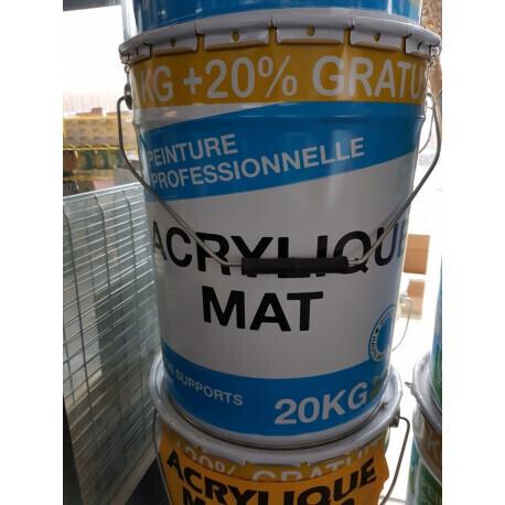 PEINTURE ACRYLIQUE MAT 20KG+20% GRATUIT PRO