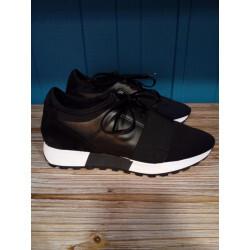 Basket Wedo fashion cuir et néopréne noir ou marine