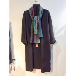 Manteau ample long avec capuche couleur marron chiné noir